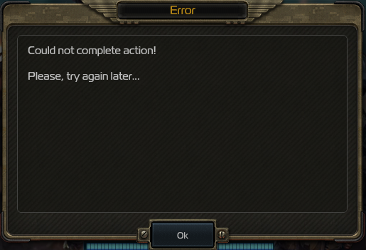 Could Not Complete Action Error